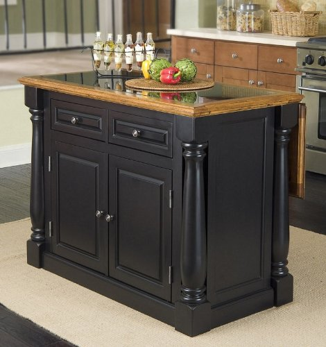 Image of Kitchen Island with Granite Top in Two Tone Finish (VF_HY-5009-94)