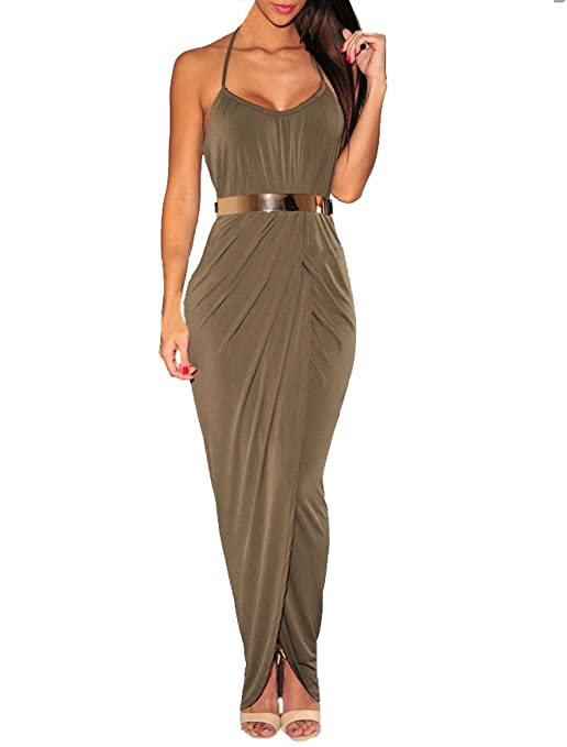 Sexy Womens Brown Halter Draped Gold Belted Open Front Maxi Dress (M, Military Green)