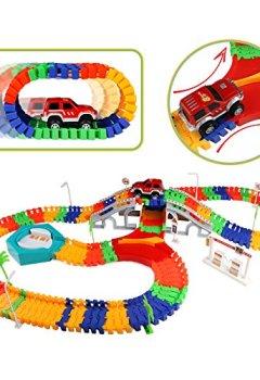 Livres Couvertures de Jouet Educatif Circuit de Course Véhicule Miniature Electronique avec Multi Piste Rougeoyant Piste Basculant du Rail Ferroviaire Construction Cadeaux pour les Enfants (192 Pièces)