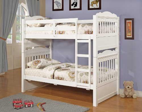 Image of Over Twin Bunkbed White Finish New Youth Kids Bedroom Set (B008W1B40O)