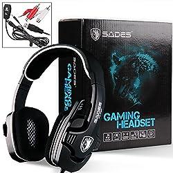 Sades SA-922 Gaming Headset ゲーミングヘッドセット【SONY PS3/PS4/Xbox360/PC対応】ステレオ ゲーミングヘッドセット 3 in 1 マルチ機能付き USB有線ゲーム用ヘッドフォン 音量調節可能父の日ギフト