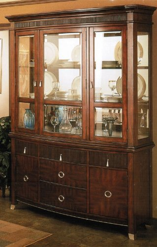 Image of China Cabinet Buffet Hutch with Reeded Details in Brown Cherry Finish (VF_AP-629-71-72)