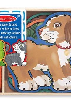 Livres Couvertures de Melissa & Doug - 13782 - 5 Panneaux En Bois Et 5 Lacets Assortis - Animaux Domestiques