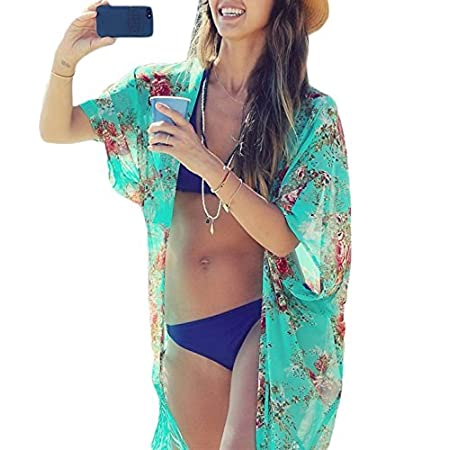 Material: Chiffon Seasons: Summer, Autumn Item Style: Bikini Cover Up Style: Casual Loose Pattern: Floral Occasion: Casual,Beach, Swimming Pool One size fit most people. Garment Care: Hand-wash Only. Unique style, create a illusion for stunning curve...