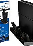 Ortz PS4 Vertical Stand with Cooling Fan - Controller Charging Station with Dual Charger