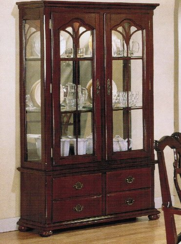 Image of Curio China Cabinet with Glass Doors Cherry Finish (VF_AZ00-39541x21589)