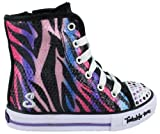 Girl?s Skechers, Twinkle Toes Shuffles Notorious Light-Up Shoes BLACK MULTI 9.5 M