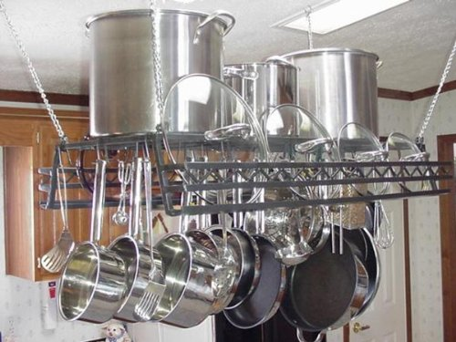 Image of Hanging pot & lid Rack w Western Lid Holder Rail (hw)