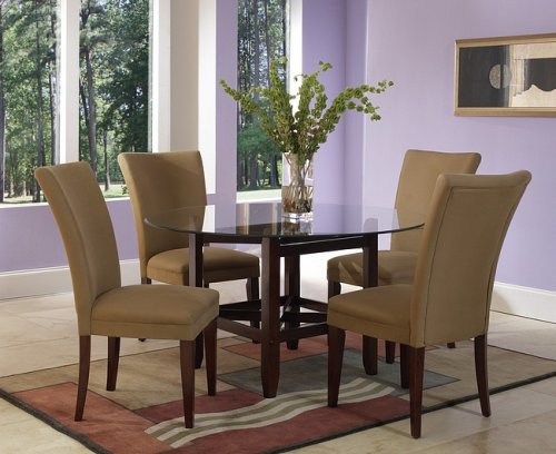Image of Cherry Finish Glass Top Dining Table & 4 Parson Chairs (VF_AZ02-7543)
