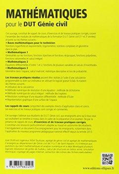 Livres Couvertures de Mathematiques : Pour le DUT Génie civil, Rappels de Cours & Exercices Corriges, Conforme au nouveau programme 2013
