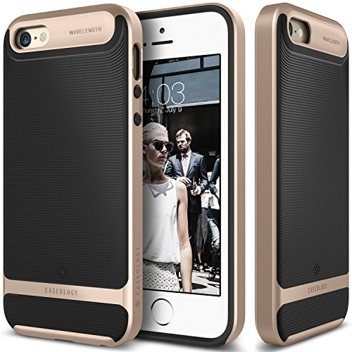 iPhone-SE-Case-Caseology-Wavelength-Series-Textured-Pattern-Grip-Cover-Black-Gold-Shock-Proof-for-Apple-iPhone-SE-2016-iPhone-5S-5-2013-Black-Gold