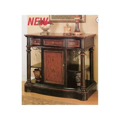 Image of All new item Two toned finish wood with hand painted designs console table with bar storage (AMB 950058)