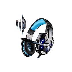 KINGTOP EACH G9000 3.5mm ゲーミングヘッドセット ヘッドホン ヘッドバンド 高集音性マイク付 LEDライト付 ヘッドアーム調整可能 プレスデーション4 PS4 タブレット ノートパソコン iPhone 6/6s/6 plus/5s/5c/5 スマートホン などに対応 ブラック&ブルー