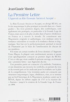 Livres Couvertures de La Première Lettre : L'Apprenti au Rite Ecossais Ancien et Accepté