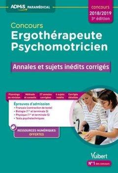 Livres Couvertures de Concours Ergothérapeute et Psychomotricien - Annales et sujets inédits corrigés - concours 2018-2019