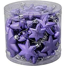 "36ct Matte & Shiny Periwinkle Purple Star Shatterproof Christmas Ornaments 1.5""-2"""