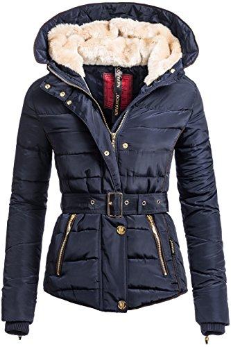 Winterjacke | Wintermantel | Stepp-Jacke für Damen von Navahoo - eleganter Kurz-Mantel im schlanken Parka-Stil mit Fellkapuze aus Kunstpelz auch für den Übergang Herbst / Winter in blau, Größe S