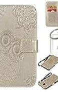 Coque Samsung Galaxy J5 2017(Version Europe) Housse en Cuir , Fleur en Relief Gaufrage Motif Livre Stylé Folio Flip Magnétique Fermeture Portefeuille Pochette Désign avec Carte de Crédit et Dragonne Stand Debout Fonction Souple Caoutchouc de Pare-chocs Intérieur Protecteur PU Cuir Etuis Coque Housse for Samsung Galaxy J5 2017(Version Europe) + porte-clés(Y) (5)