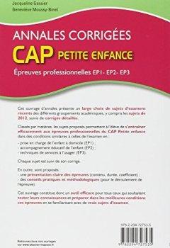 Livres Couvertures de Annales corrigées CAP petite enfance Epreuves professionnelles: EP1, EP2, EP3