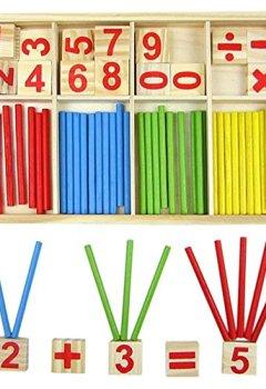 Livres Couvertures de Ruikey Jeu Numérique Bâtons Bois Montessori Mathématiques Intelligence Préscolaire Jouet éducatifs pour enfants Ensembles d'aide à l'enseignement