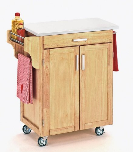 Image of Kitchen Cart with White Vinyl Top in Natural Finish (VF_HY-9001-0018)