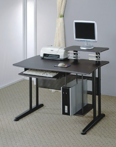 Picture of Comfortable Black Metal Home Office Computer Workstation Desk (B003K5MSD4) (Computer Desks)