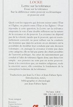 Livres Couvertures de Lettre sur la tolérance : Précédé de Essai sur la tolérance (1667) et de Sur la différence entre pouvoir ecclésiastique et pouvoir civil (1674)