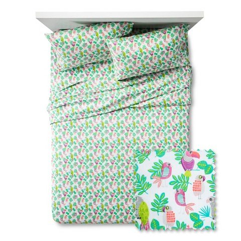 Pillowfort-Parakeet-Paradise-Twin-Sheet-Set