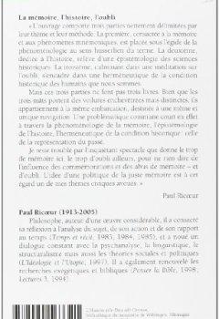 Livres Couvertures de La Mémoire, l'Histoire, l'Oubli