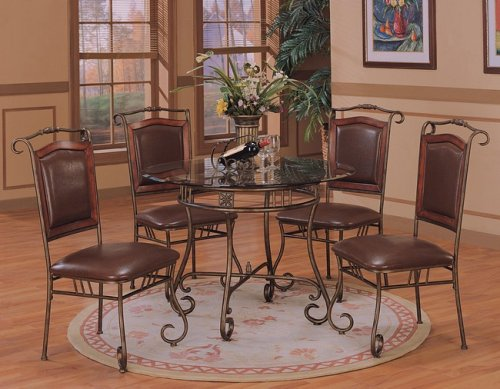 Image of 5pc Dark Distress Gold Metal Dining Table w/Glass Top & Chairs Set (VF_dinset-120151-120152)
