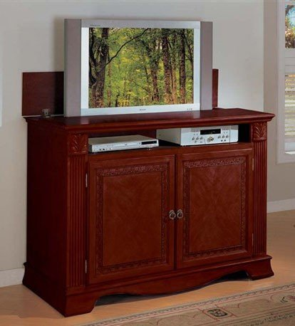 Image of Entertainment Console Table with TV Lift Cherry Finish (VF_AM2079)