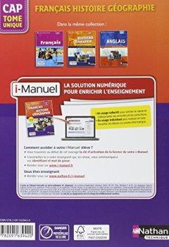 Livres Couvertures de Français Histoire-Géographie Tome unique CAP