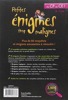 Livres Couvertures de Petites énigmes trop malignes - du CP au CE1 - Cahier de vacances