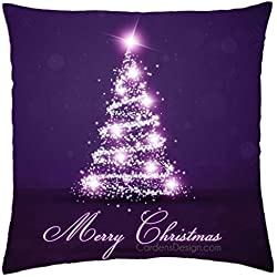 Christmas present lights christmas tree nature purple winter sparkle - Throw Pillow Cover Case (18x18inchx 18x18inch )