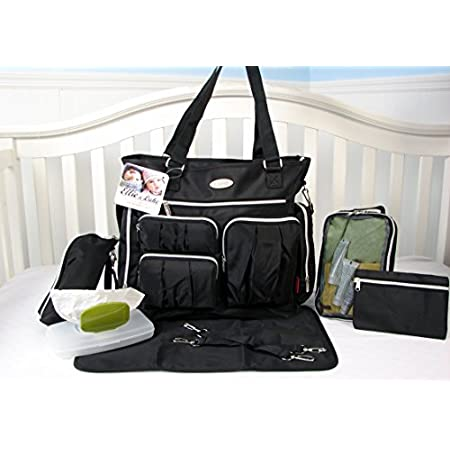 8 pieces set of diaper bag: 1. Extra roomy main compartment with multiple pockets ,Reliable zip-top closure with Grab handles and adjustable shoulder strap, This bag have total of 11 pockets interior and exterior pockets for your organization. 2. Per...