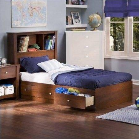 Image of South Shore Mika Cherry Kids Twin Wood Bookcase Bed 3 Piece Bedroom Set (3268212-3PKG)