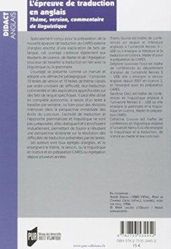 Livres Couvertures de L'épreuve de traduction en anglais : Thème, version, commentaire linguistique