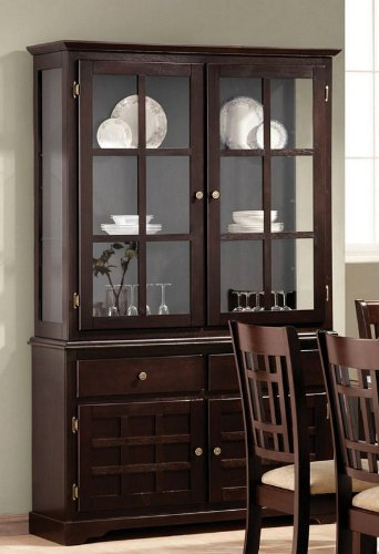 Image of China Cabinet Buffet Hutch with Lattice Design Deep Cappuccino Finish (VF_AZ00-45671x33288)