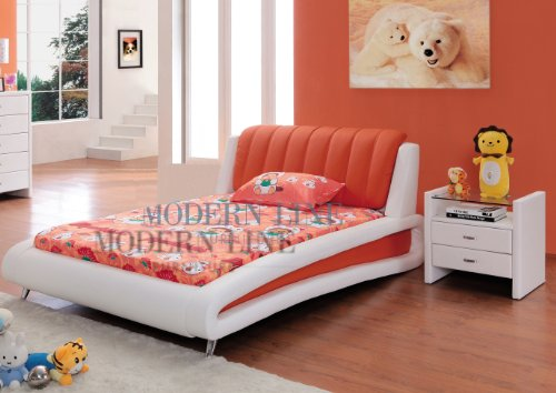 Image of Sleek Modern Full Size Kids Bedroom Set in White and Orange (Samy-Full-Org)