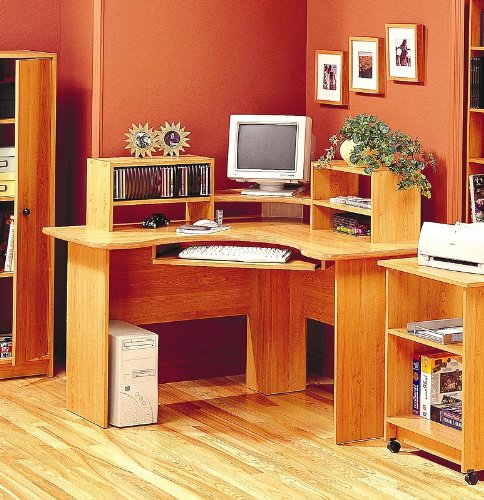 Picture of Comfortable Maple Finish Corner Computer Workstation Office Desk (B00136AS16) (Computer Desks)