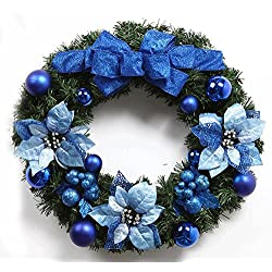 Multicolours Christmas Wreath Pine Needles Flower and Berry for Front Door Decorate Garlands (More Size Available)