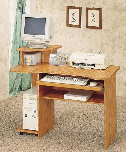 Picture of Comfortable Home Office Oak Finish Computer Desk w/Sliding Keyboard Tray + Tower Stand (B0002KNMS0) (Computer Desks)