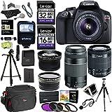 Canon EOS Rebel T6 Digital SLR Camera Kit, EF-S 18-55mm, EF 75-300mm Zoom Lenses, Polaroid .43x Super Wide Angle & 2.2X HD Telephoto Lens, Polaroid Tripods, Memory Cards & Accessory Bundle