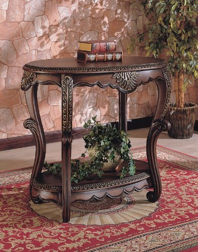 Image of Elegant Warm Brown Finish EntryWay Accent Console Table (VF_700014)