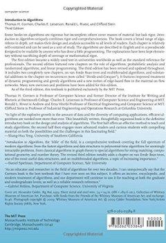 Livres Couvertures de Introduction to Algorithms 3e ISE