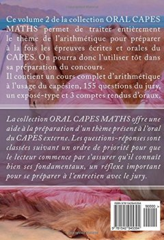 Livres Couvertures de ORAL CAPES MATHS : Arithmétique des nombres entiers