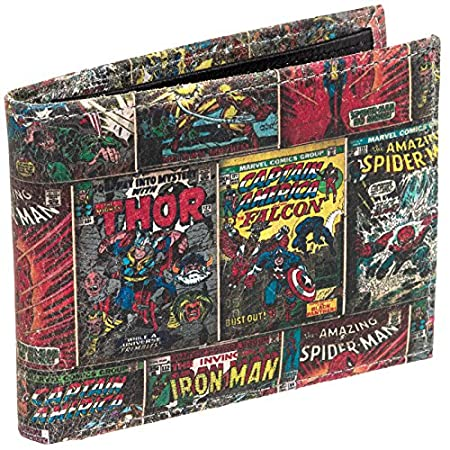 Superheroes unite to defend your belongings with this Marvel Comics Character Bifold Wallet. This officially licensed billfold is crafted from genuine leather and is coved in printed pages from the classic Marvel Comics issues. The interior features ...