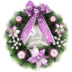 Doinshop Christmas Wreath Poinsettia Pine Garland Door Wall Decoration Xmas Gift (Purple)