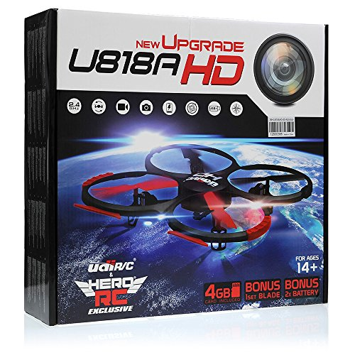 UDI U818A-HD RC Quadcopter Camera Drone UFO 4CH 6-Axis Gyro Remote Control Drone 2.4ghz w/HD Camera w/Return Home +Headless +360 Flips w/4GB card+(3)Drone Battery+Dual Battery Charger+Extra Blades