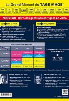 Livres Couvertures de Le Grand Manuel du TAGE MAGE® - 220 fiches de cours, 15 tests blancs, 2000 questions + corrigés en vidéo -  édition 2018